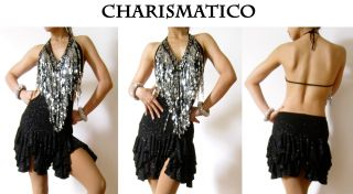 Black Silver Samba Latin Salsa Ballroom Dance Dress
