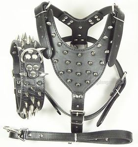 Black PU Leather Spiked Dog Collar Studs Harness Leash Set Pitbull Husky Terrier
