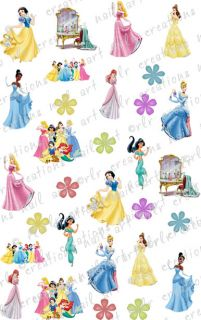 30 Assorted Disney Princesses Water Slide Nail Art Decals Cute