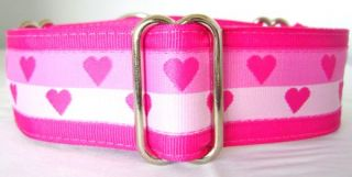 "1 5"" Pink Stripe Hearts Valentine Martingale Dog Collar Med 13 18"" Greyhounds"