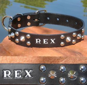 "Cone Spike Dome Stud Black Leather 1 1 4"" Personalized Spiked Pet Dog Collar"