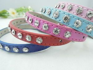 Bling Rhinestone Small Pet Collar Crystal Studded PU Leather Dog Collar