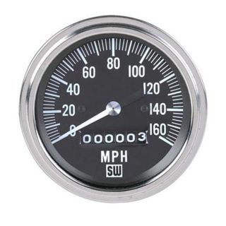 New Stewart Warner Deluxe Mechanical Speedometer Black