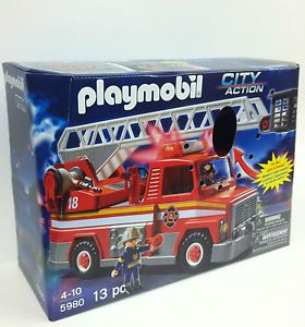 Playmobil 5980 Rescue Fire Truck with Sounds Lights and Rotating Ladder