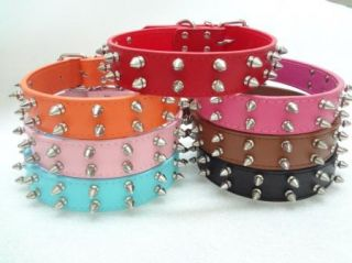 1 2'' Wide Colorful Spiked Studded Leather Pet Dog Collars for Large Dog Pitbull