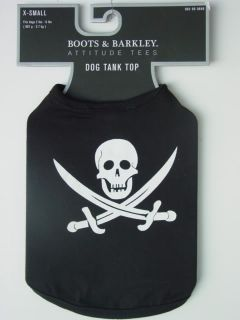 "Small Black Skull Crossbones Dog Tank Top Shirt 9 5"" LG"