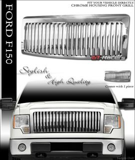 Chrome Vertical VIP Sport Front Hood Bumper Grill Grille ABS 2009 2012 Ford F150