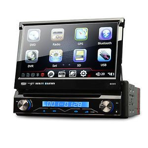"7""Single DIN GPS Navigation Car DVD Stereo Player Bluetooth Digital Touch Screen"