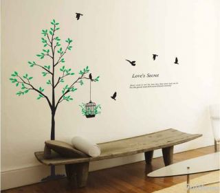 Removable Black Birds Cage Tree Green Leaf Wall Decal vinvy Mural Decor Sticker