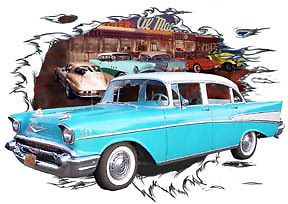 1957 Blue Chevy 4 Door Sedan Custom Hot Rod Diner T Shirt 57 Muscle Car Tee'S
