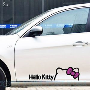 2X Big Pink Bowknot Black Outline Hello Kitty Car Door Decal Sticker 15 70""