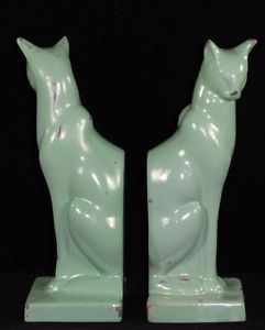 Antique Pair FRANKART Art Deco Siamese Cat Bookends 1930s Machine Age Modernist