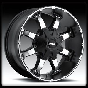 "20"" MKW M83 Machined Black Rims Toyo 35x12 50x20 Open Country at 2 Tires Wheel"