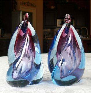 Beautiful Murano Glass Flame Shape Bookends