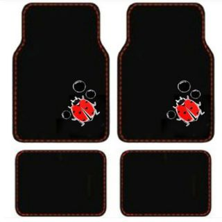 15pc Set Seat Covers Cute Red Ladybugs Black Floor Mats Wheel Belt Head Pads