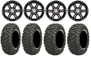 "ITP SS212 14"" Wheels Black 26"" Bighorn Tires Yamaha Grizzly Rhino"