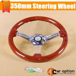 350mm Steering Wheel Classic Wood Grain Sport Chrome Polish Spokes