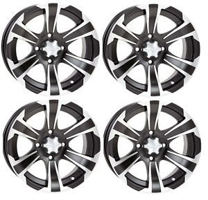 "ITP SS312 ATV Wheels Rims Black 12"" Honda Foreman Rancher SRA Solid Axle 4"