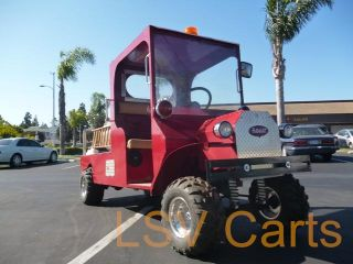 Custom Red Fire Truck Engine Electric Car Golf Cart Long Flat Bed EZGO Cool
