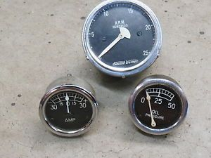 Vintage Stewart Warner Gauges Instrument Cluster SW Hot Rod Scta RPM Amp Oil