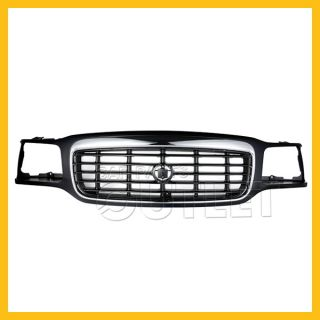99 00 Cadillac Escalade Grille Chrome Plastic Surround Frame Black Bar Insert