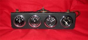 Stewart Warner Vintage Gauges w Mounting Panel Set of 4 Amp Oil Water Vacuum