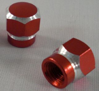 "2 Billet Chrome Red ""Hex"" Custom Valve Stem Caps for Motorcycle Car Air Rims"