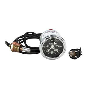 New Stewart Warner Mechanical Water Temp Gauge Black