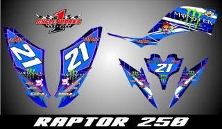 Raptor 250 250R Custom Made Ashley Graphics Kit Decal Pegatinas Graficas