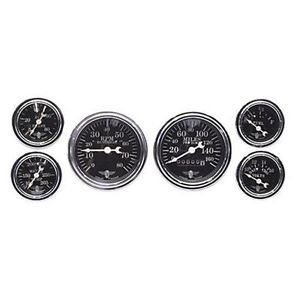Stewart Warner Mechanical Electrical Black 6 Gauge Set