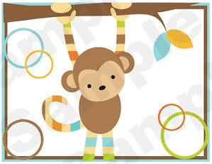 Blue Brown Green Jungle Monkey Zebra Baby Nursery Wall Border Stickers Decals
