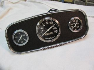 Vintage Stewart Warner Gauges with Panel RARE 160MPH Large Bloc Awesome