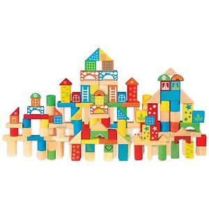 Wooden Building Blocks Shapes Set Two Storage Tubs Wood Kids Childrens Toy Play