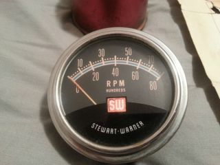 Stewart Warner Greenline Tachometer SW Hot Rod Rat Rod Scta Vintage Race