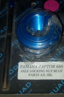 Modquad Billet Axle Locking Nut Yamaha Raptor 660 660R Blue