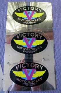 Victory Motorcycle Classic Logo 3 x Stainless Metal Gas Tank Badge Insignia New