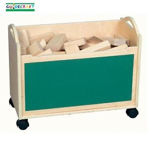 New Wooden Kids Wood Building Block Storage Cart