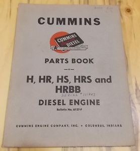 Cummins Diesel Engines Parts Book H HS HR Hrs HRBB 6127 F 1951