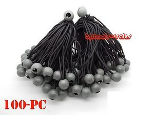 "100 9"" Black Ball Bungee Heavy Duty Cord Tarp Bungee Tie Down Canopy Straps"