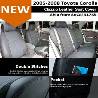 Clazzio Custom Perfect Fit Leather Seat Cover Gray 05 08 Toyota Corolla CE Le S