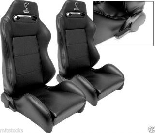 1 Pair Black PVC Leather Racing Seats 1964 2012 Ford Mustang Cobra Stitch Logo
