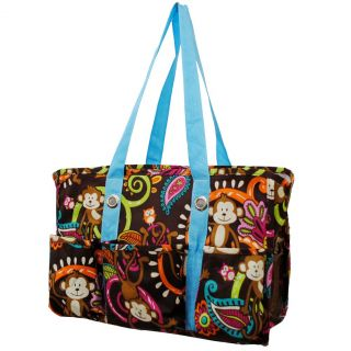 Adorable Monkey Print Travel Caddy Organizer Tote Bag