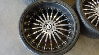 "Asanti AF 122 Custom Painted Black Chrome 22"" Wheels Rims BMW 7 Series w Tires"