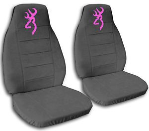 2 Cute Car Seat Covers Chevy Camaro Velour Charcoal Gray with Pink Browning