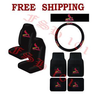 MLB St Louis Cardinals Car Truck Steering Wheel Cover Floor Mats Seat Covers