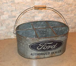 Ford Authorized Galvanized Metal Tool Parts Bucket Vintage Sales Oil Can Sign