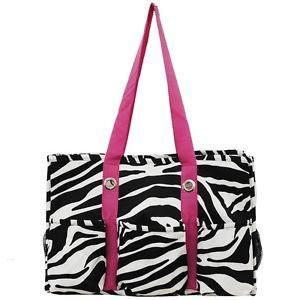 Zebra Print Travel Caddy Organizer Tote Bag