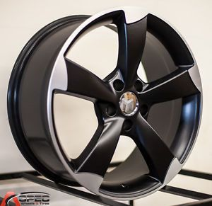 18x8 Audi RS3 Style Matt Black Machined 5x112 35 Rim Wheels Fit Audi Volkswagen