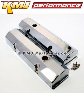 Small Block Chevy Chrome Fabricated Aluminum Valve Covers V8 SBC 59 86 283 400