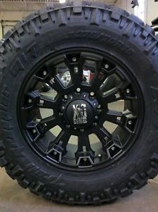 "18"" Wheels Rims XD Misfit Matte Black w 295 70 18 Nitto Trail Grappler MT Tires"